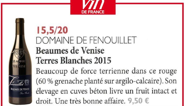 """""""Terres Blanches"""" 2015 a été sélectionné dans La Revue du vin de France"""
