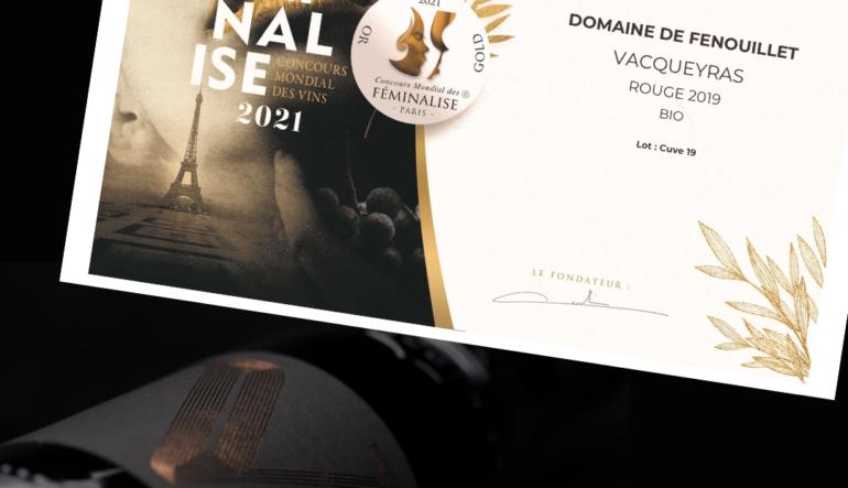 Diplôme de médaille d'or pour le Vacqueyras rouge 2019